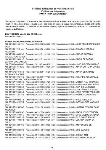 Pauta da 1ª CAJ dos dias 17 e 18/06/2013 - Ministério da ...