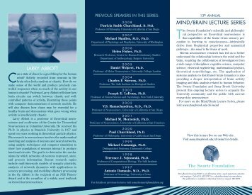 Download the Larry Abbott Mind/Brain 2009 Lecture brochure