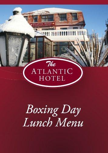 Boxing Day Menu - Atlantic Hotel