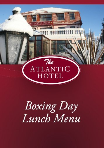 Boxing Day Menu - Atlantic Hotel