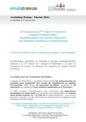 A l'occasion du 2ème Salon e-Tourisme « Voyage ... - EmailStrategie