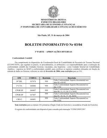 31 Mar 04 - 2ª ICFEx - Exército Brasileiro