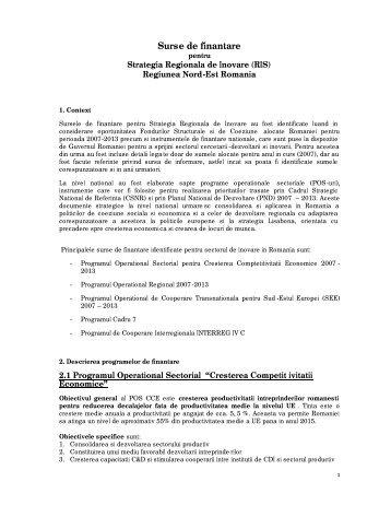 Surse de finantare - Agentia pentru Dezvoltare Regionala Nord-Est