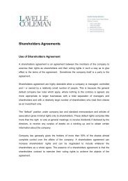 Shareholders Agreements - Lavelle Coleman