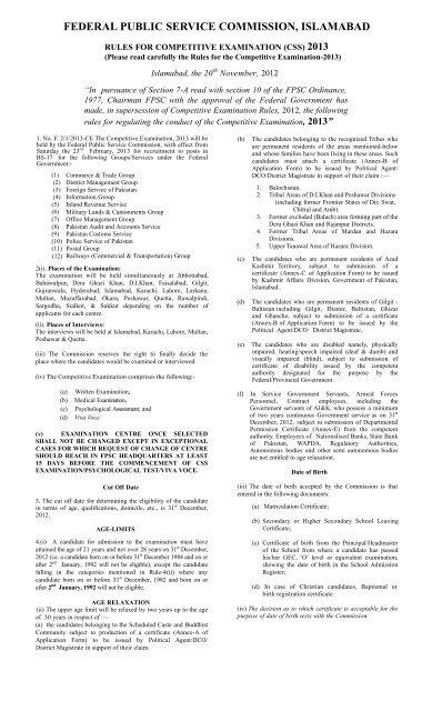 CE-2013 - Rules & Syllabus - FPSC