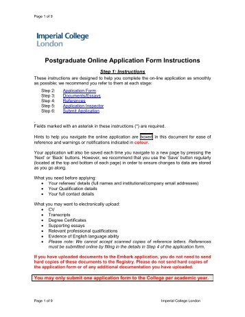 Application Form Instructions - Imperial College London