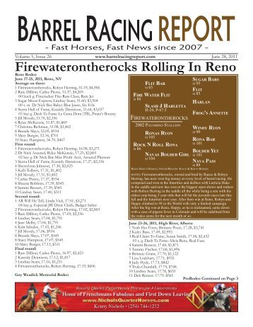 Firewaterontherocks Rolling In Reno - Barrel Racing Report