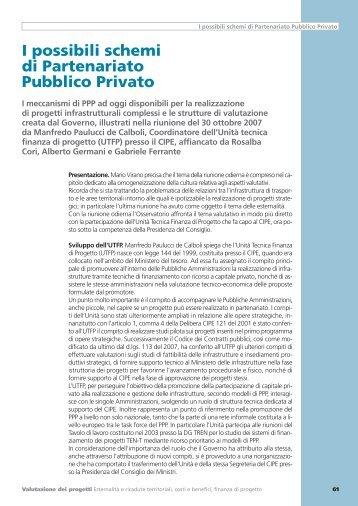 I possibili schemi di Partenariato Pubblico Privato - UTFP