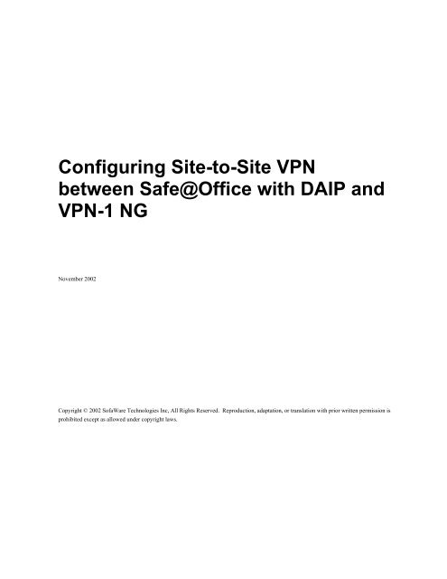 Configuring Site-to-Site VPN between Safe@office with DAIP