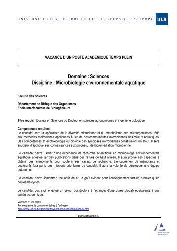 vacance d'un poste academique temps plein - Université Libre de ...