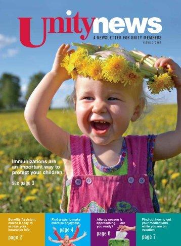 2007 2nd Quarter Member Newsletter - Unity Health Insurance