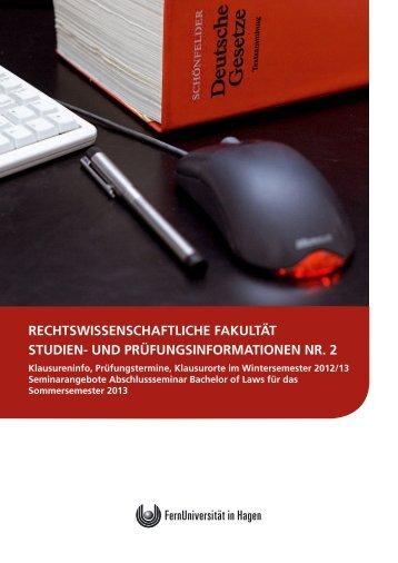 Heft Nr. 2 der Studien- und Prüfungsinformationen WS 2012/13