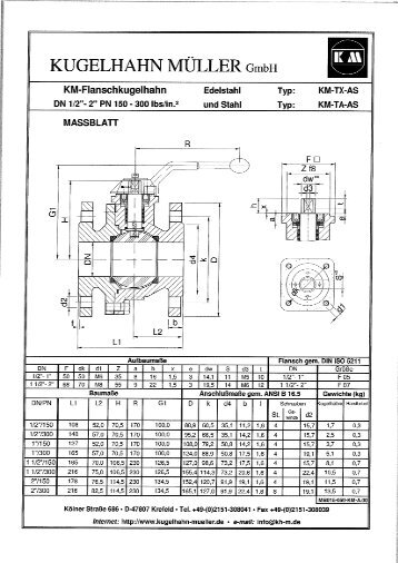 dimension sheet to PDF - Kugelhahn Müller GmbH