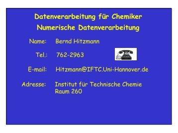 Datenverarbeitung für Chemiker Numerische Datenverarbeitung