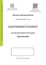 Questionario studente classe II secondaria di secondo grado - Invalsi