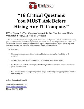"""""""16 Critical Questions You MUST Ask Before Hiring Any IT Company"""""""