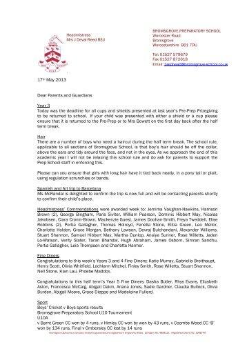 Weekly Letter - Bromsgrove School
