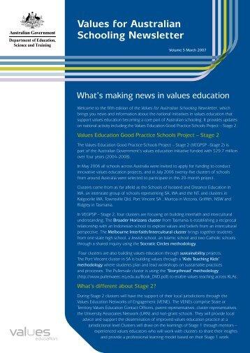 Values for Australian Schooling Newsletter Vol.5 - Values Education