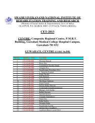 Guwahati Centre. - National Institute of Rehabilitation Training and ...