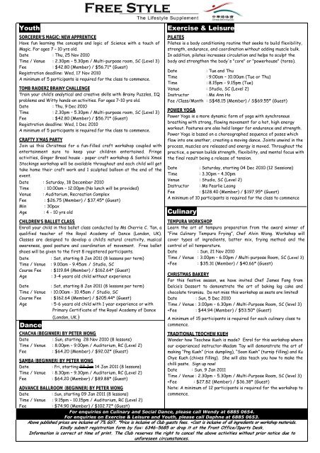 Youth – Holiday Programmes - Chinese Swimming Club