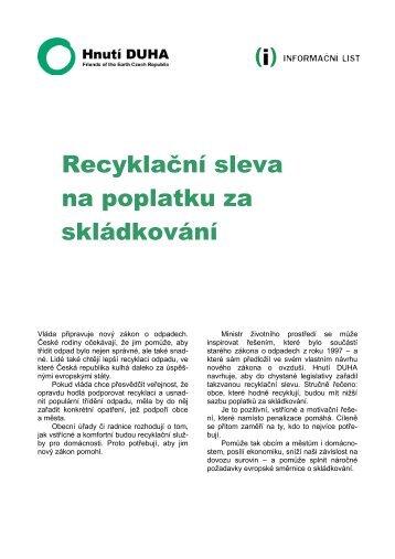 Recyklační sleva na poplatku za skládkování - Hnutí DUHA
