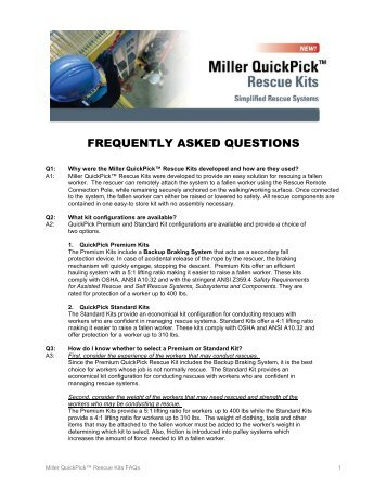 Miller QuickPick Rescue Kit - Honeywell Safety Products