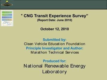 CNG Transit Experience Survey - Transit Lessons Learned - EERE