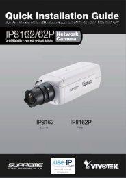 Vivotek IP8162 Fixed Network Camera Quick Installation ... - Use-IP