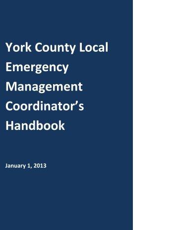 York County Local Emergency Management Coordinator's Handbook