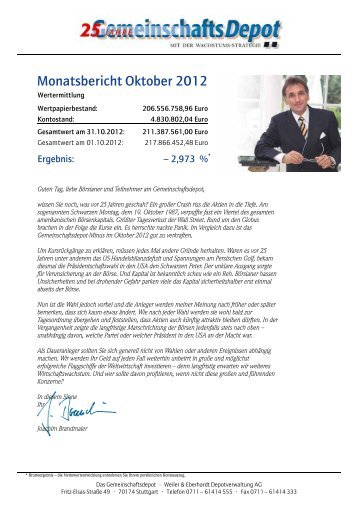 Monatsbericht Oktober 2012 - Weiler Eberhardt Depotverwaltung AG