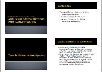Tipos y análisis de estudios empíricos.