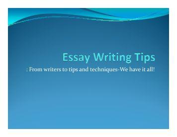 Techniques narrative essays