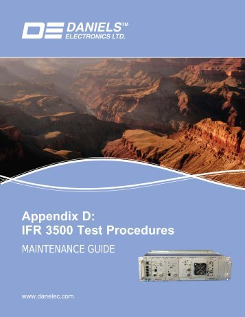 Appendix D: IFR 3500 Test Procedures - Daniels Electronics