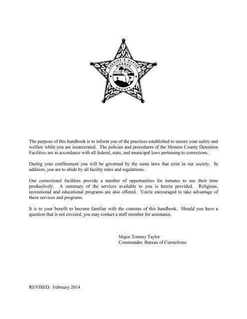 Inmate Handbook - Monroe County Sheriff's Office