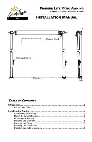 Pioneer Lite Awning Installation Manual