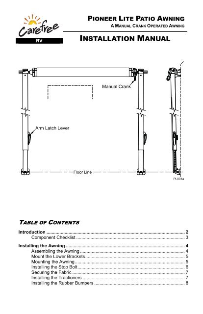 Pioneer Lite Awning Installation Manual - Carefree of Colorado