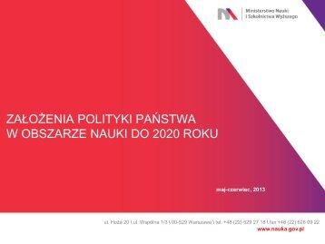 Założenia polityki państwa w obszarze nauki i szkolnictwa wyższego