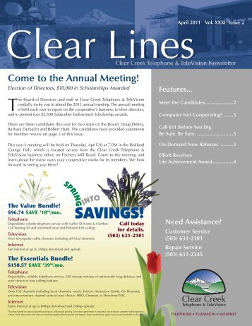 April 2011 Clear Lines - Clear Creek Communications