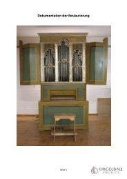 Dokumentation der Restaurierung - Bente Orgelbau