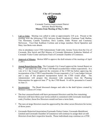 5/5/11: CTID Meeting Minutes - Coronado Tourism Improvement ...