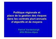 Politique régionale et place de la gestion des ... - Parhtage santé