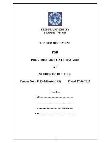 Tender Document For Catering Services For Hostel 8 Iit Bombay