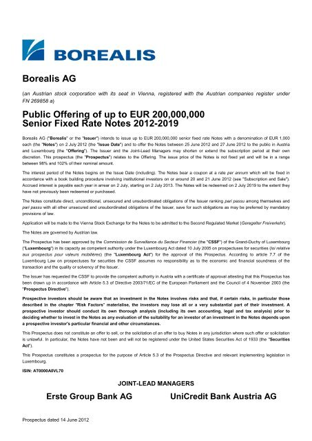 borealis ag public offering of up to eur 200000000 senior  data systems austria ag in insolvenz #1