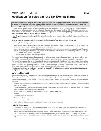 Form TC-160, Application for Sales Tax Exemption - Utah State Tax ...