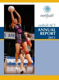 2011 Netball ACT Annual Report - Netball Australia