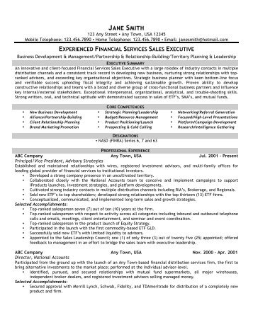 Financial Services Sales Executive - Front Runner Resume Writing