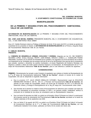 MUNICIPALIZACIÓN DE LA PRIMERA Y SEGUNDA ETAPA DEL ...