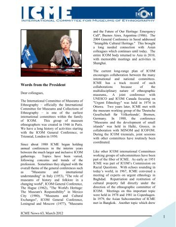 Newsletter 63 - ICME - The International Council of Museums
