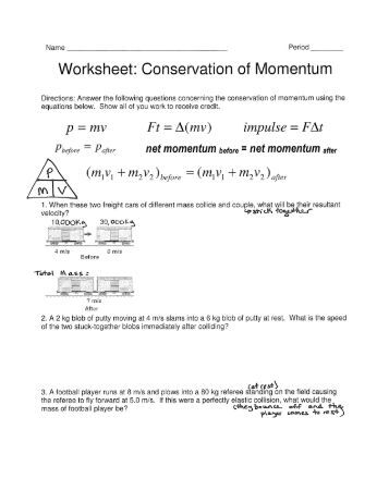 Worksheets. Worksheet Conservation Of Momentum. Opossumsoft ...