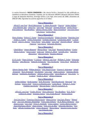 Nueva Dimensión 1 Alfred E. van Vogt / Bertil ... - IDES et Autres